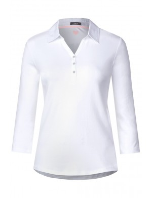 Polo manches longues femme blanc
