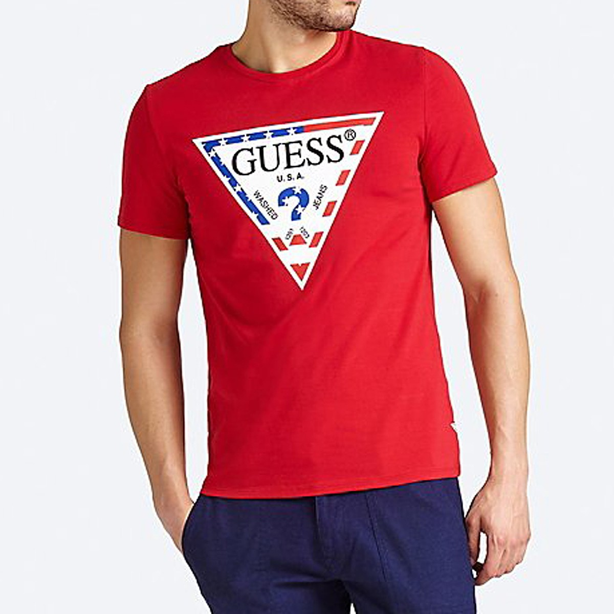 GUESS T shirt manches courtes homme rouge