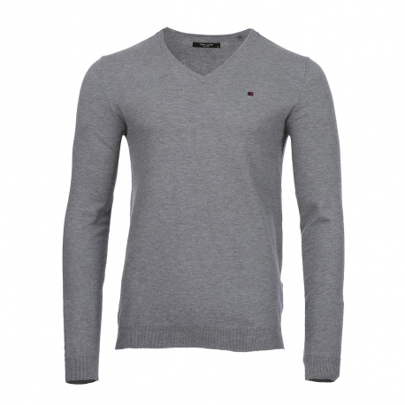 Pull col V homme gris TEDDY SMITH