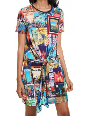 Robe manches courtes femme multicolore