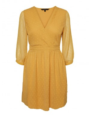 Robe manches longues femme jaune