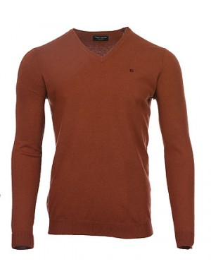 Pull col V Piko homme rouge