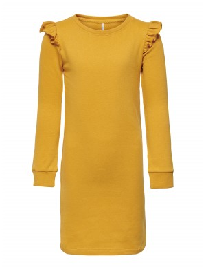 Robe manches longues fille jaune