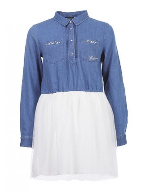 Robe manches longues fille bleu