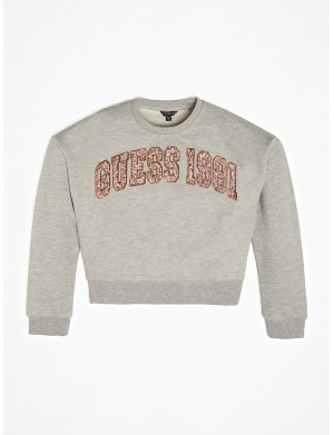 Sweat ras de cou fille gris