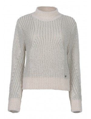 Pull col cheminée femme blanc