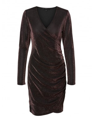 Robe manches longues femme marron
