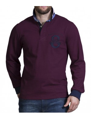Polo manches longues homme rouge