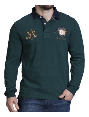 Polo manches longues homme vert