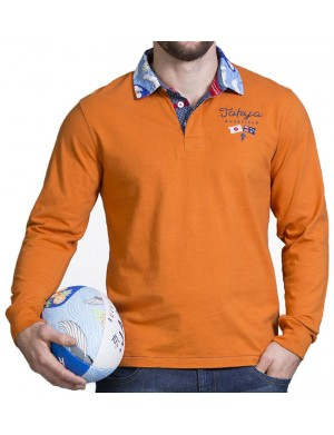 Polo manches longues homme orange