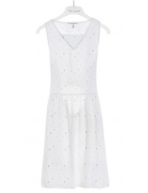 Robe manches courtes fille blanc