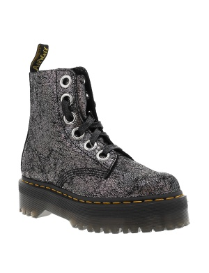 Boots montantes MOLLY GUNMETAL cuir femme