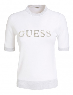 Pull manches courtes femme blanc