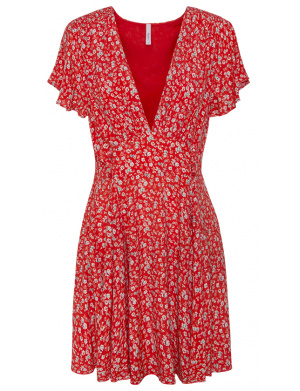 Robe manches courtes femme rouge