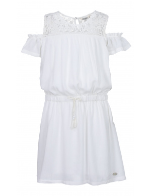 Robe fille col rond taille élastiquée
