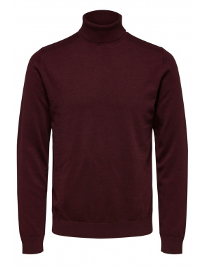Pull col roulé homme rouge