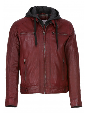 Blouson homme cuir ERICO HOOD OX RED rouge