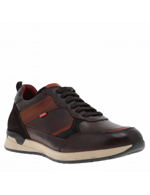 Baskets basses homme EMORY cuir marron