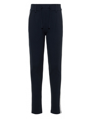 Pantalon fille regular à bandes blanches marine