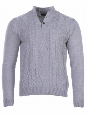Pull homme col camionneur gris