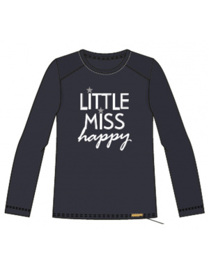 T-shirt fille col rond à imprimé little miss happy marine