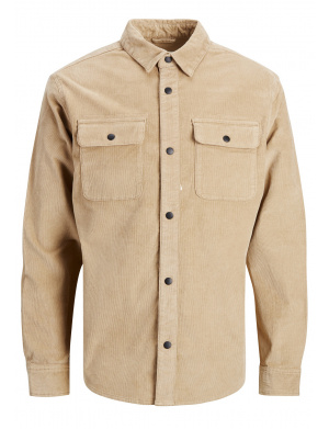 Chemise homme coupe droite beige