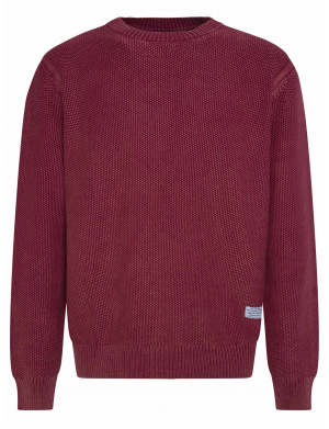 Pull homme col rond rouge