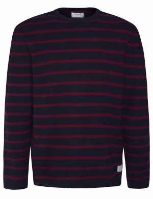 Pull homme col rond à imprimé rayures rouge