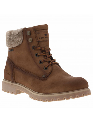 Boots femme   col fausse fourrure whisky