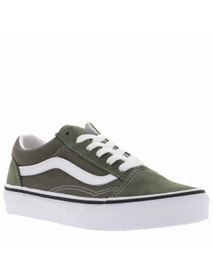 Baskets basses mixte enfants OLD SKOOL cuir  olive
