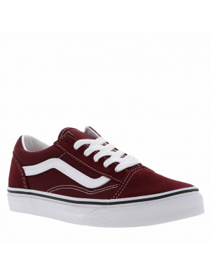 Baskets basses mixte enfants OLD SKOOL cuir  bordeaux