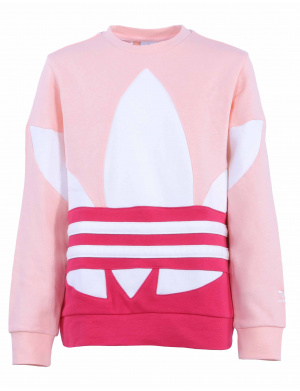 Sweat  fille droit  tricolore  rose