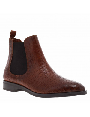Bottines femme cuir chelsea FAILLY cognac croco