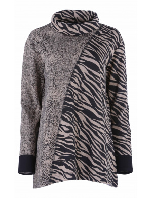 Pull femme STREET PARADE ample  motifs animaliers  camel