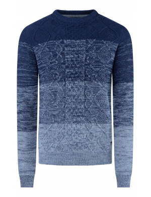 Pull homme  adjusted fit en point de torsades   marine