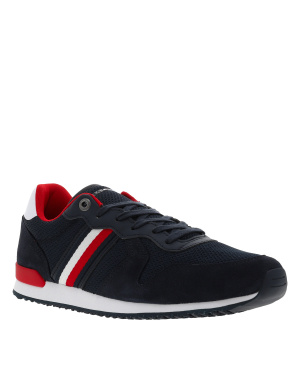 Baskets basses homme style streetwear ICONIC MATERIAL MIX RUNNER marine