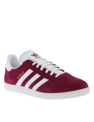 Baskets basses mixte en cuir GAZELLE bordeaux et blanc