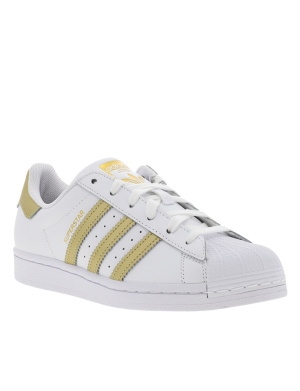 Baskets basses femme en cuir SUPERSTAR W blanc et or
