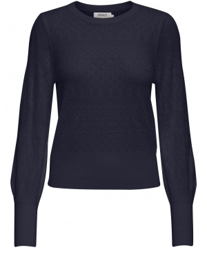 Pull marine femme coupe droite avec broderies