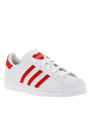 Baskets basses garçon SUPERSTAR J rouge et blanc