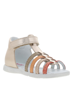 Sandales fille en cuir REALITY or brillant