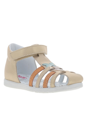Sandales fille en cuir RELISA or brillant