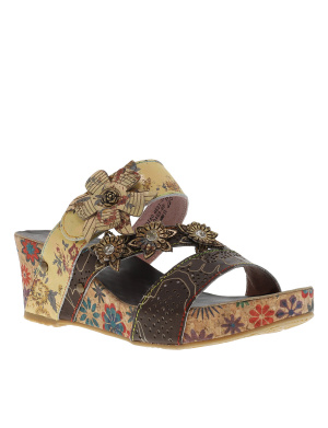 Mules femme en cuir FACDIAO taupe