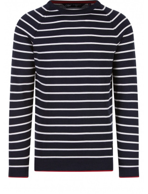 Pull marine pour homme rayures coupe droite