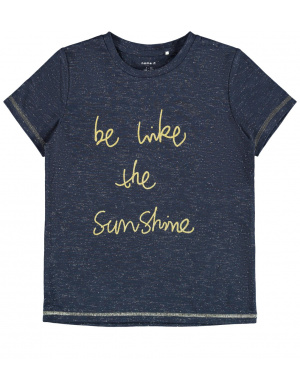 "T-shirt marine pour fille inscription ""be like the sunshine"" coupe droite"