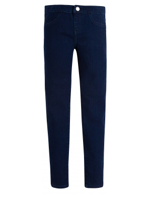 Jean marine pour fille uni coupe pull-on jegging