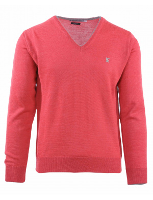 Pull col V homme orange