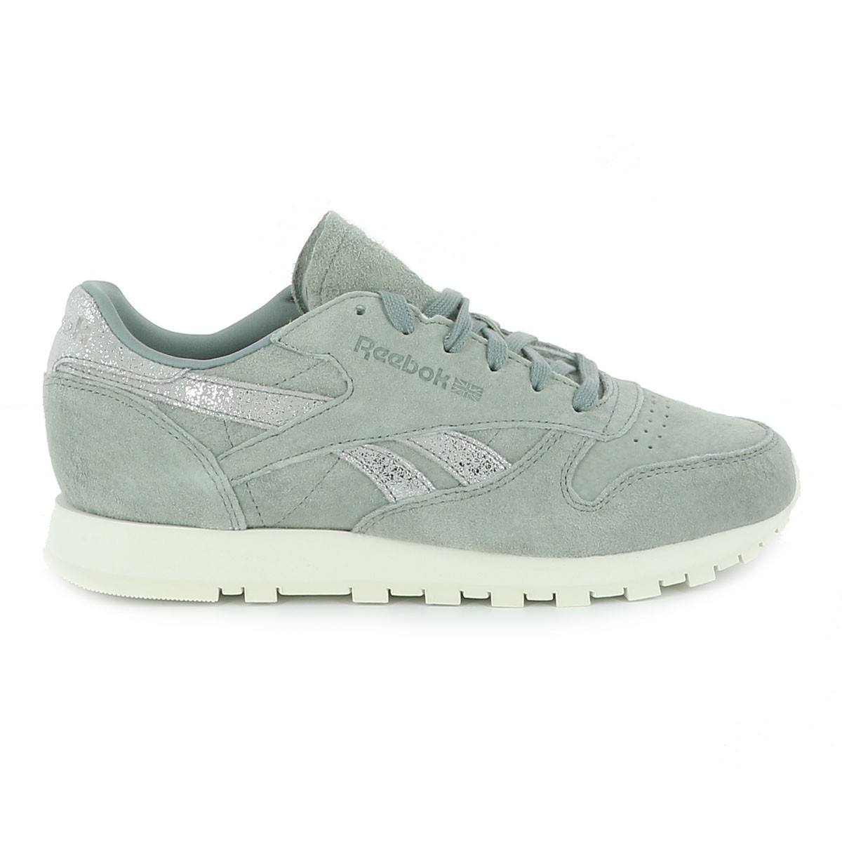 Gris Baskets Classic Reebok Leather Shimmer Femme 3A54RjL