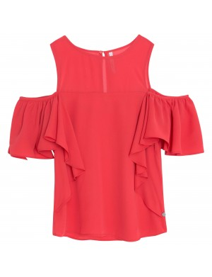 Chemisier manches courtes femme rouge