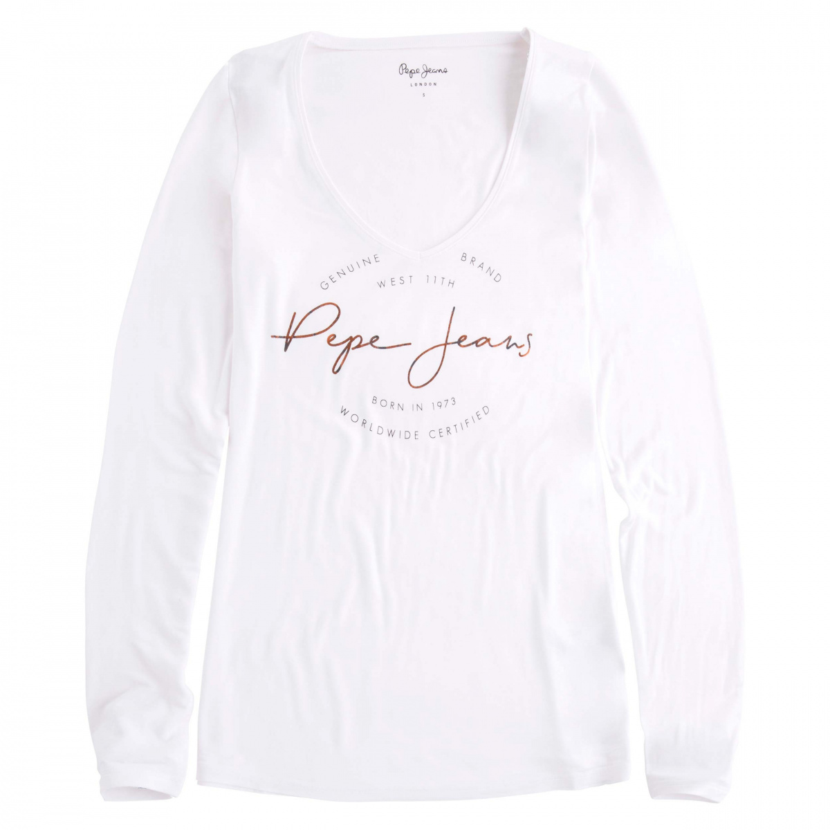 t shirt manches longues femme blanc pepe jeans ccv mode. Black Bedroom Furniture Sets. Home Design Ideas